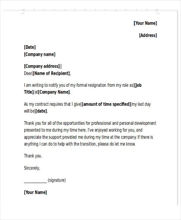 New Job Resignation Letter Template - 9+ Free Word, PDF Format ...