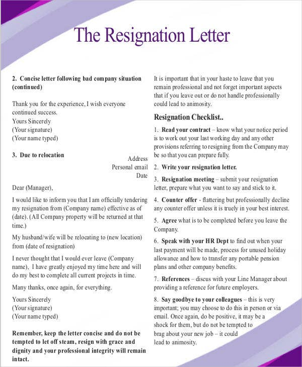 formal resignation letter due to relocation
