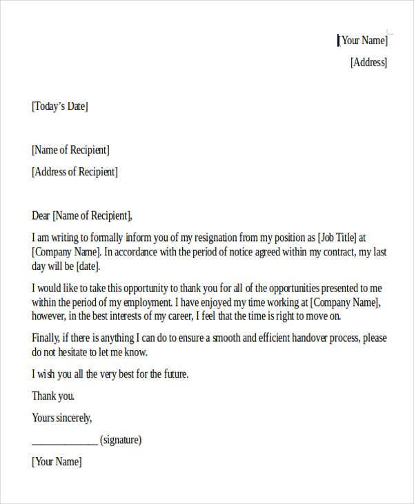 Editable Internship Resignation Letter Template
