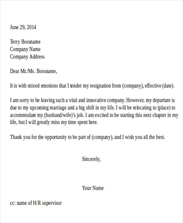 Resignation Letter Due To Relocation Template - 5+ Free Word, Pdf