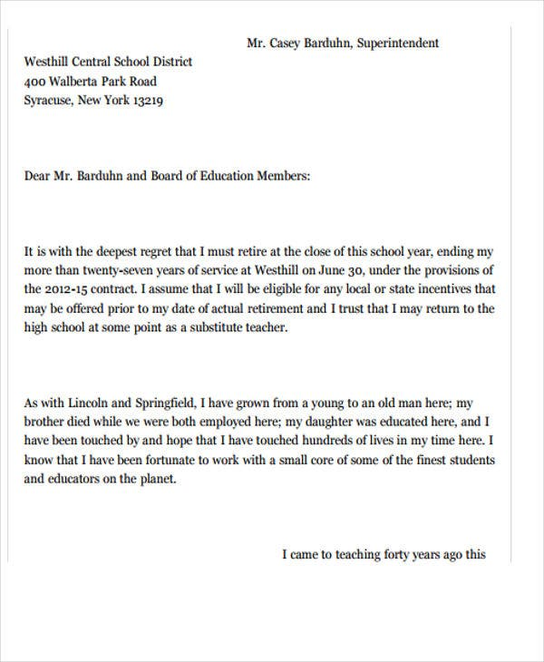 High Quality New Teacher Job Resignation Letter