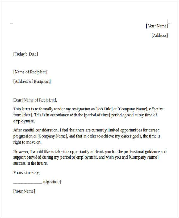 Internship Resignation Letter Template 6 Free Word PDF Format – Resignation Letter in It Company