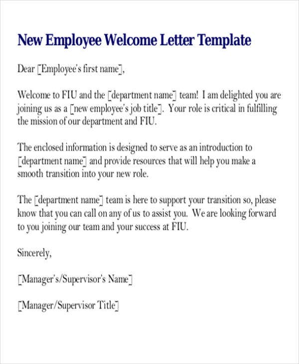 intern welcome letter template