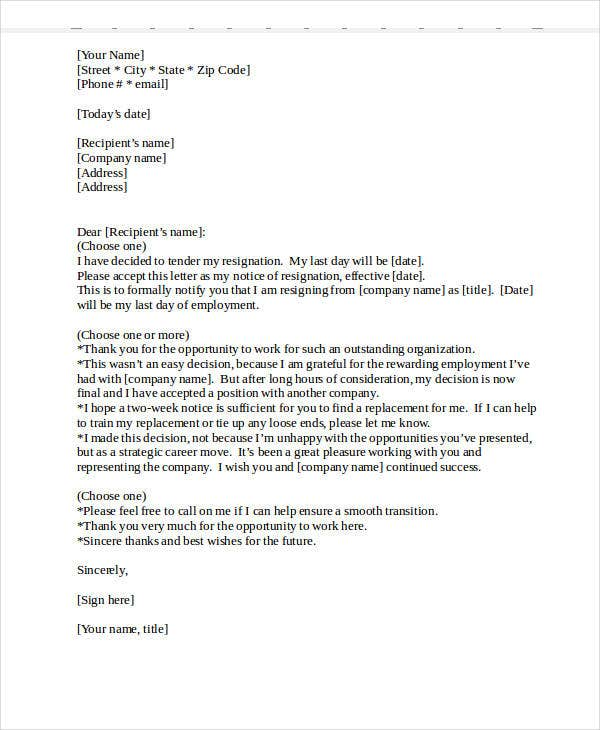 resignation letters formats Here is a step-by-step resignation letter template for quitting your job this guide breaks down what's necessary to include when writing a resignation letter.