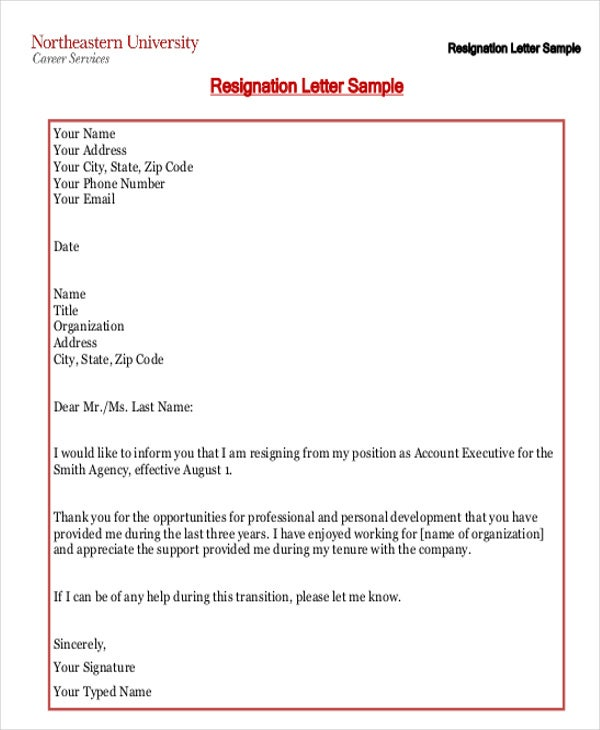 free printable resignation letter template