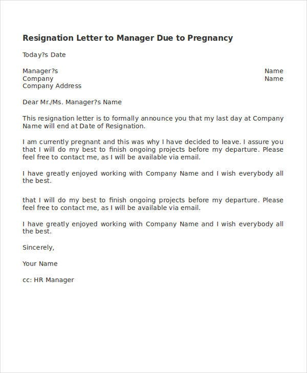 resignation letter to manager due to pregnancy