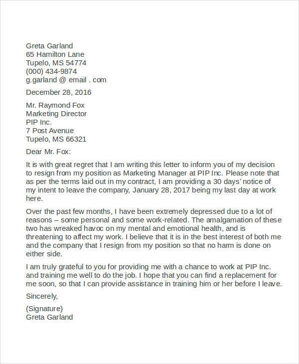 9 resignation letter due to stress template pdf word ipages resignation letter format due to stress spiritdancerdesigns Image collections