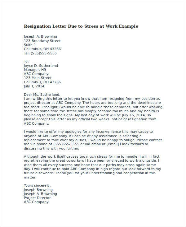 Resignation Letter Due To Stress Template   Free Word Pdf