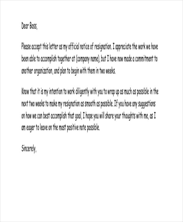 heartfelt resignation letter to boss example