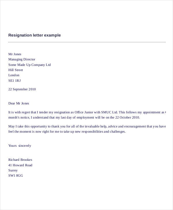 Last Minute Resignation Letter   Free Word Pdf Documents