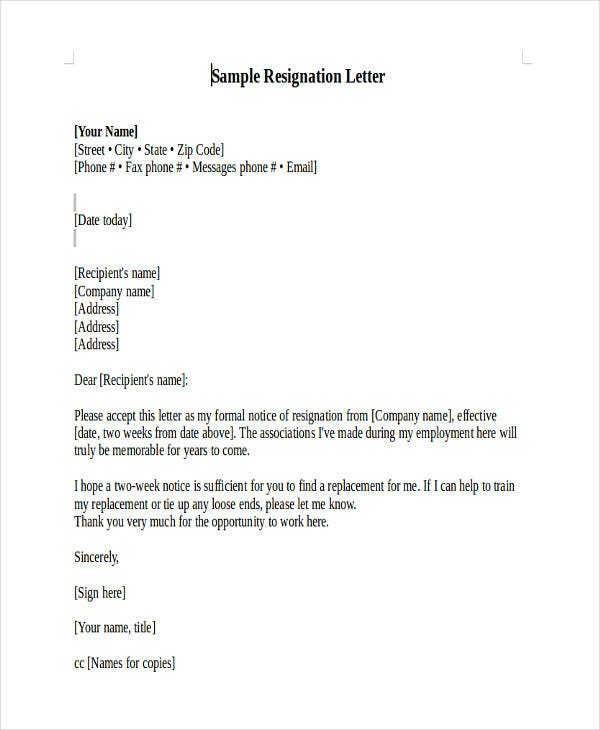 Heartfelt Resignation Letter Template