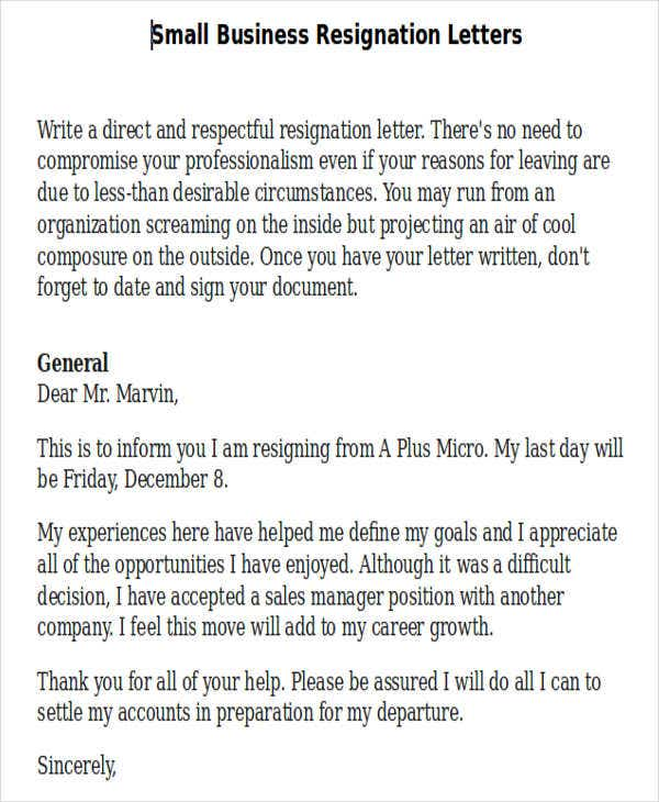 Business resignation letter template 10 free word pdf format small business resignation letter template spiritdancerdesigns Image collections