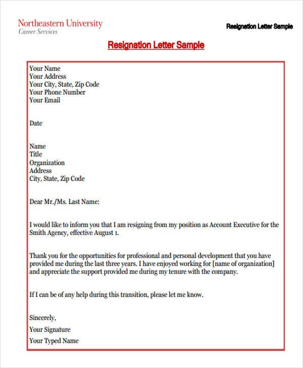 professional business resignation letter template1