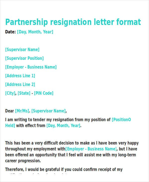 business partner resignation letter template