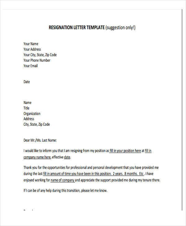 Business Resignation Letter Template   Free Word Pdf Format