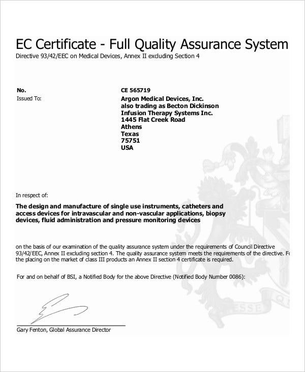 Quality management certificate 8 free pdf documents for Quality assurance certificate template