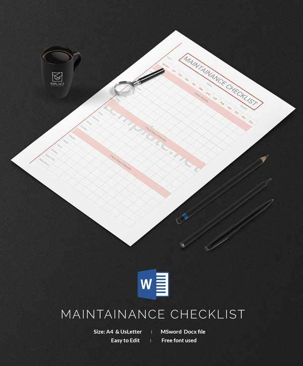 Maintenance Checklist Template