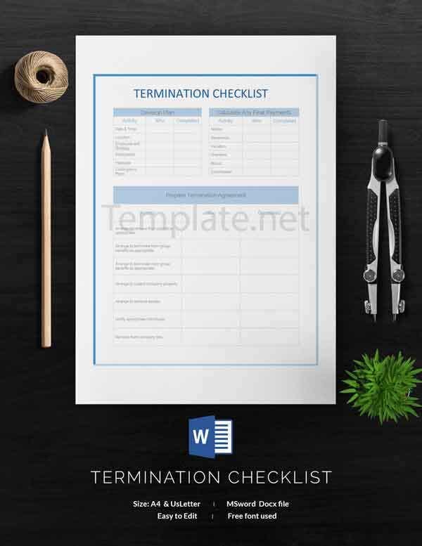 Termination Checklist Template