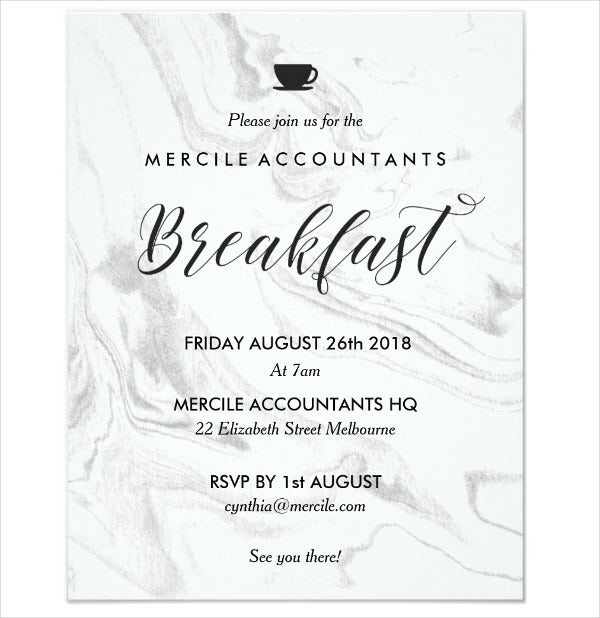 6 Business Breakfast Invitations JPG Vector EPS Ai – Professional Invitation Template