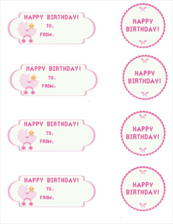photograph about Birthday Tag Printable titled 8+ Birthday Reward Tags - PSD, Vector EPS Totally free High quality