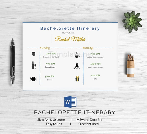 itinerary template free
