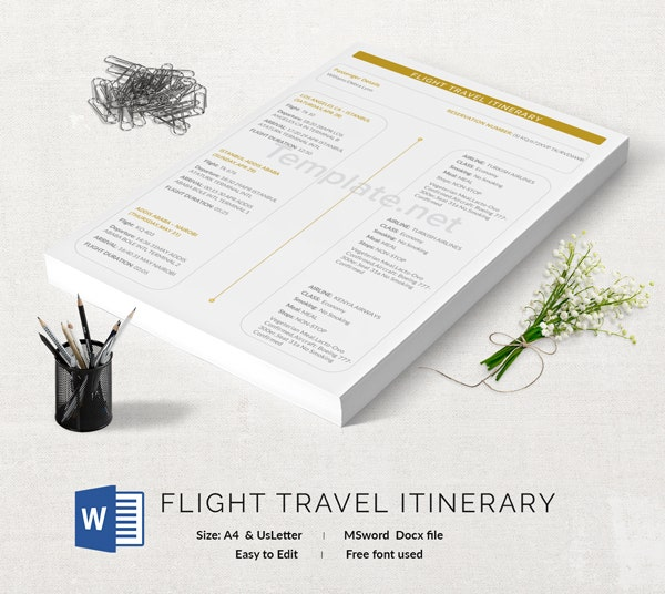 Flight Itinerary Template
