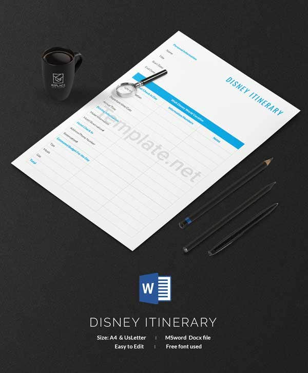 Disney Itinerary Template