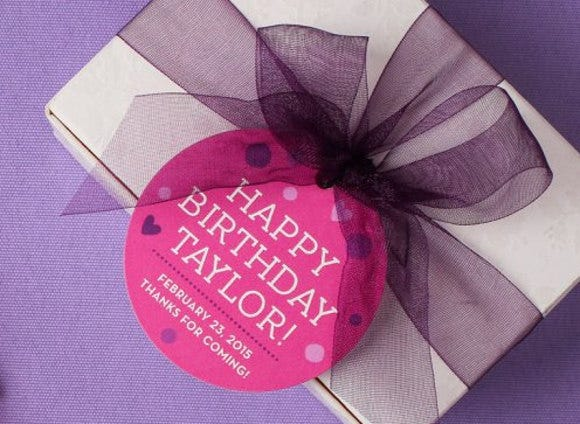 rounded birthday gift tag
