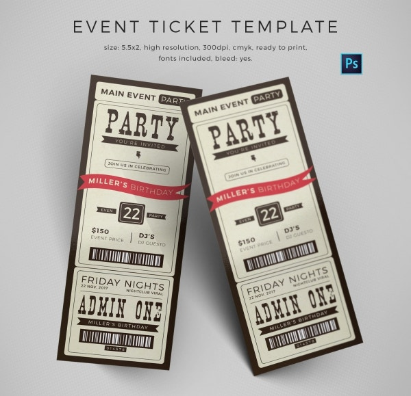Event Invitation Ticket Template