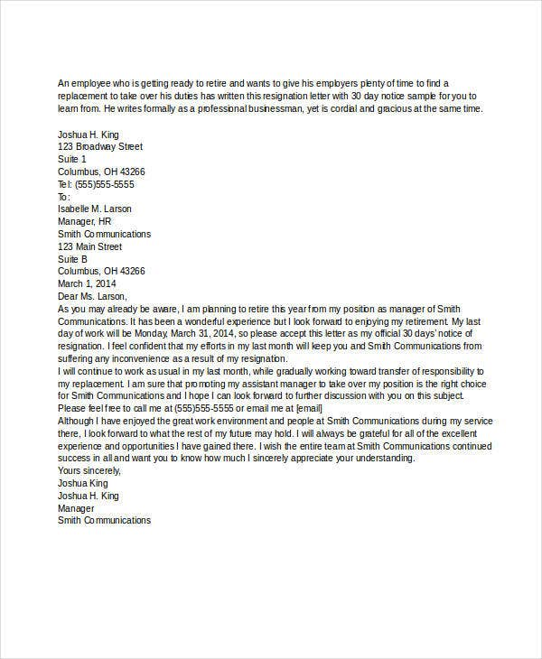 Resignation Letter With 30 Day Notice Template 5 Free Word PDF – 30 Day Notice Template