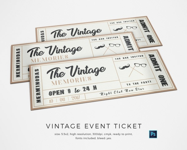 Vintage Event Ticket Template  Event Ticket Template