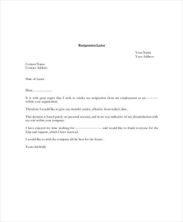8 resignation letter with 30 day notice template pdf doc free resignation letter with one month notice in pdf altavistaventures Images
