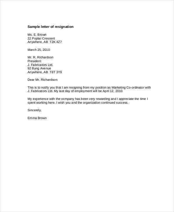 standard notice of resignation letter template