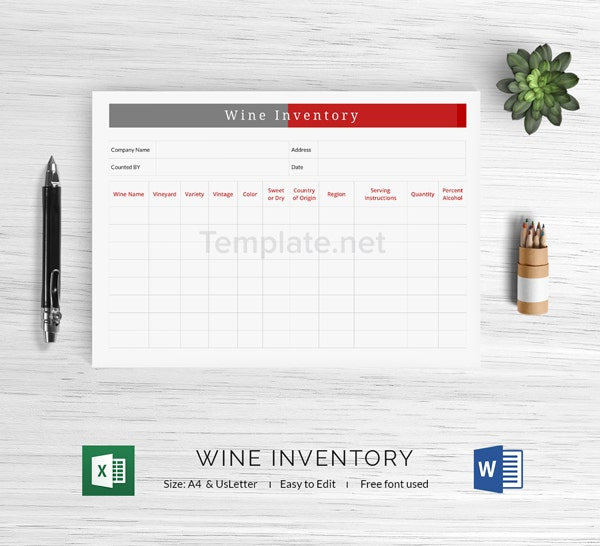 Wine Inventory Template