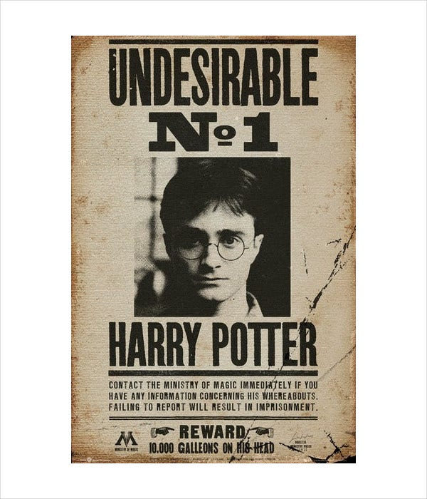 Printable Harry Potter Wanted Poster