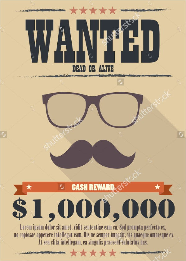 9 Printable Wanted Posters Free PSD Vector EPS Format – Most Wanted Posters Templates