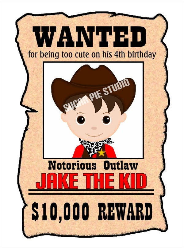 Printable Wanted Poster Template For Kid S
