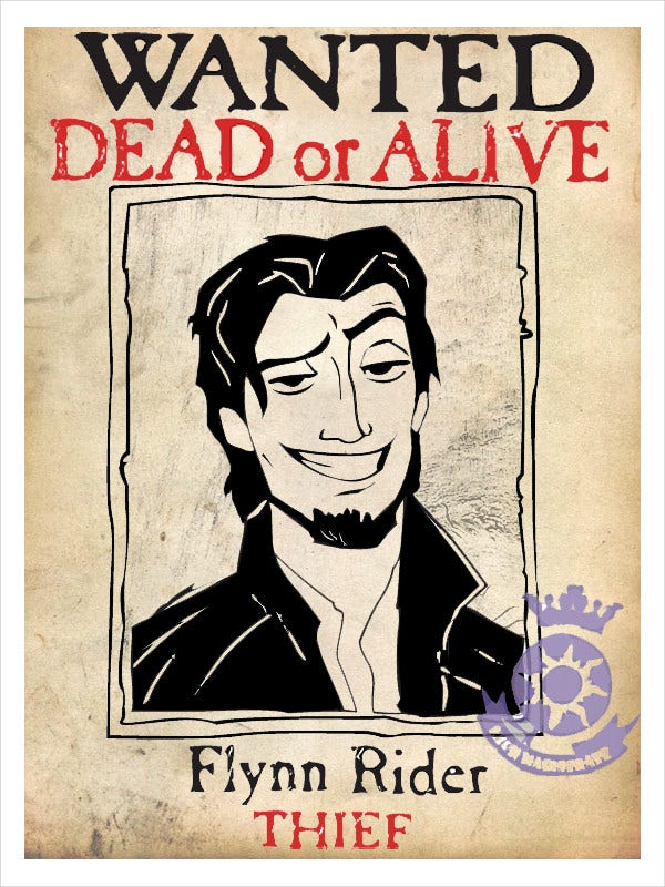 printable flynn rider wanted poster