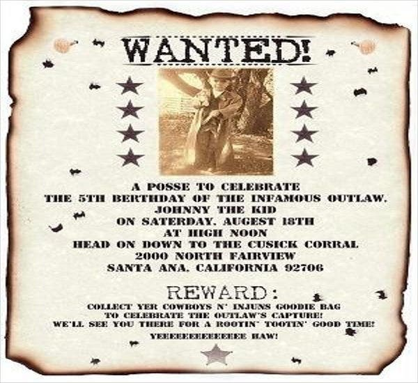 bbq invitation wanted poster