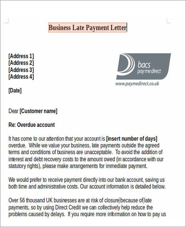 business late payment letter template