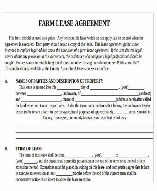 13 printable lease agreement free premium templates for Farm rental agreement template