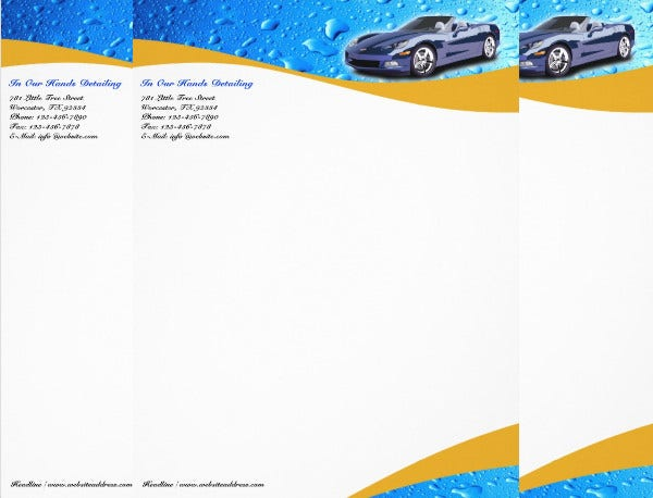 Car Cleaning Company Letterhead Design