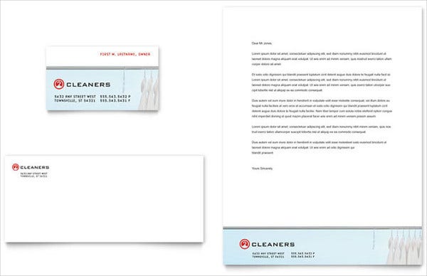Laundry and Dry Cleaning Company Letterhead Design
