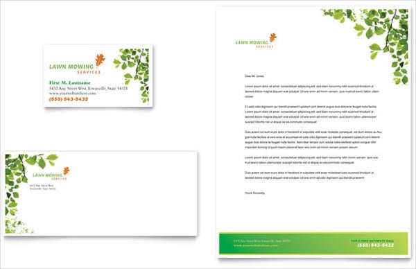 Lawn Moving Cleaning Company Letterhead Template