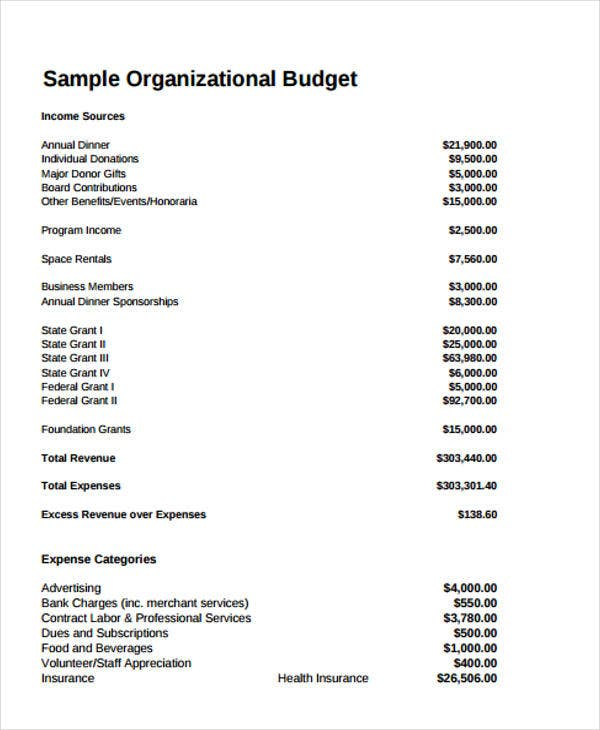 budget for nonprofit example