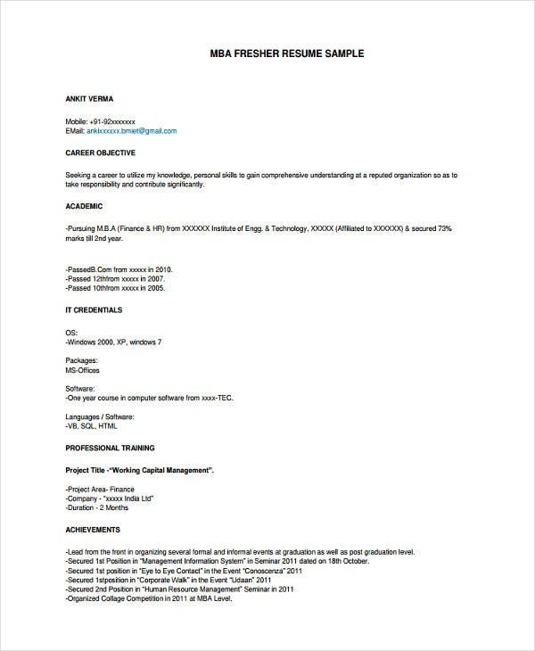 mba fresher resume format template