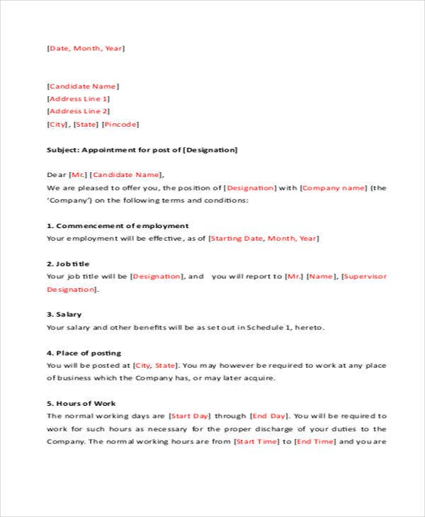 job appointment letter template 6 free word pdf format