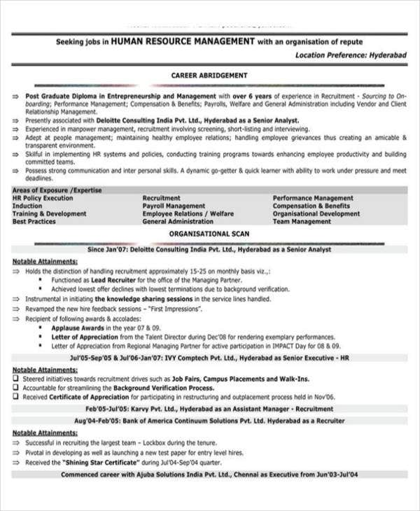 hr fresher resume format template