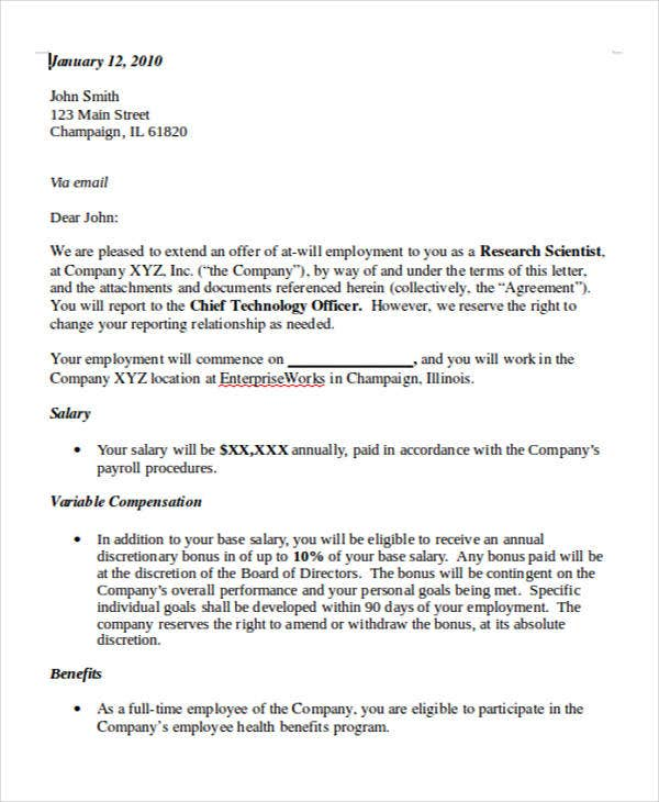 Job Appointment Letter Template   Free Word Pdf Format Download