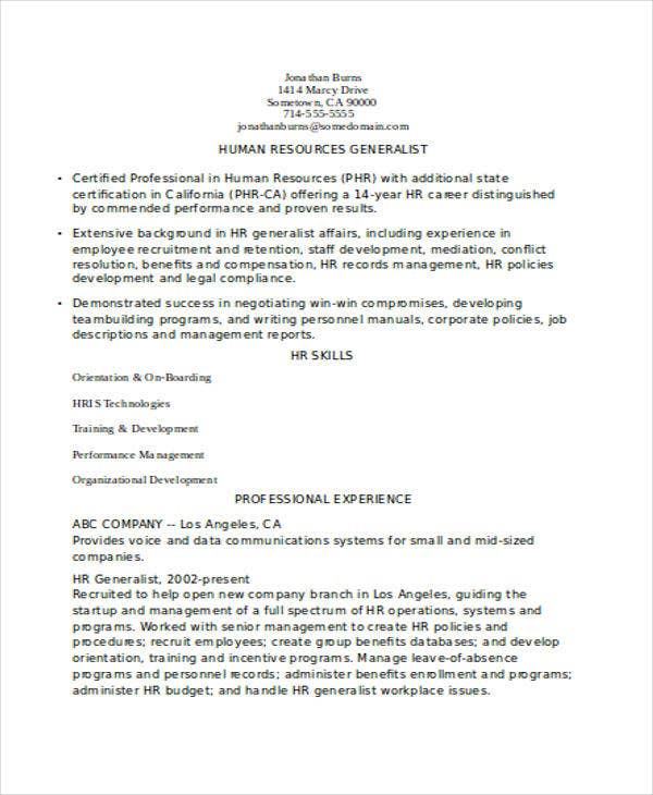hr experienced resume format template